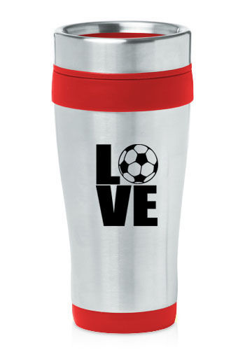 Stainless Steel Insulated 16oz Travel Mug Coffee Cup Love Soccer