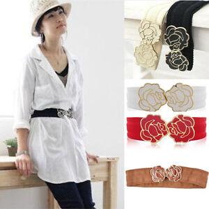 Fashion-Peony-Rose-Buckle-Style-Elastic-Belt-Waistband-Women-5-Color-DD