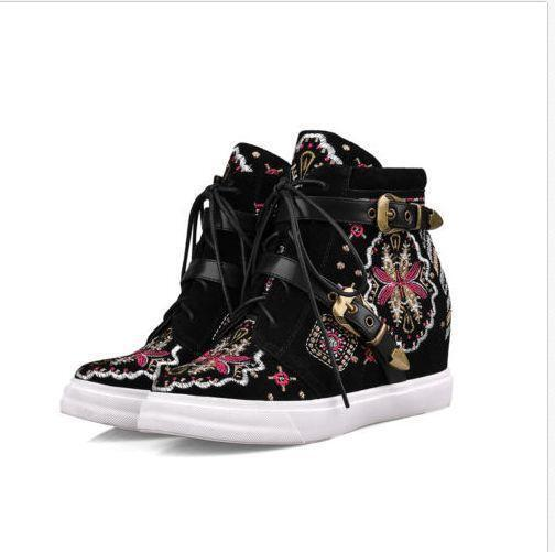 femmes baskets Hidden  Heel Lace Up  Leather Embroidery chaussures Ankle Increase