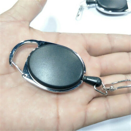 Fly Fishing Tool Zinger Retractor Tool Carabiner clip Nylon Cord 60CM Black 3pcs