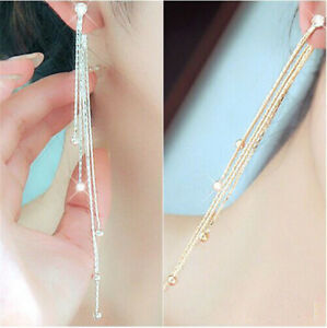 Long-Tassel-Diamante-Crystal-Ear-Stud-Drop-Dangle-Earrings-Fashion-Jewelry-SD
