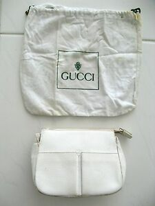 f4efcbade85 GUCCI HANDBAG WHITE LEATHER CLUTCH ZIPPER TOP WITH DUST BAG ITALY ...