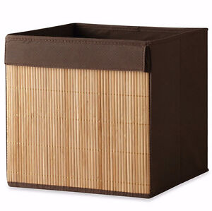 New Home Drawer Brown Bamboo Fabric Storage Organizer Cube Bin Container Basket