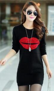 Women-Autumn-Plus-Thick-Bodycon-Dress-Casual-Long-Sleeve-Lips-Print-Short-Skirt