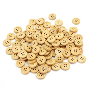 100pcs-15mm-Round-Pattern-4-Holes-Wood-Buttons-Sewing-Scrapbooking-Craft-New