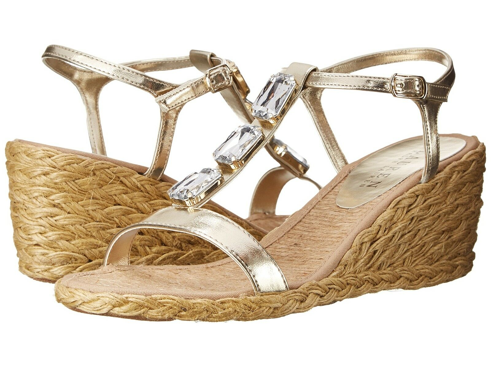 RALPH LAUREN CORALA PLATINO WOMENS WEDGES SANDALS SHOES MULTISIZES AS
