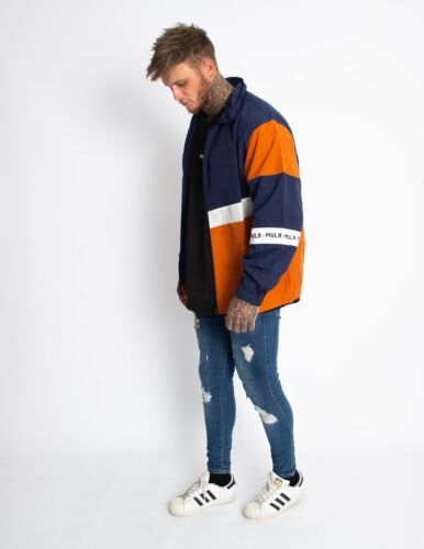 Jacket Check Orange Rain Spray Navy wdfxSPvq8E