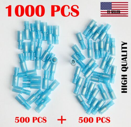 1000 X BLUE 16-14 AWG GAUGE  BULLET CONNECTOR MALE /& FEMALE NYLON TERMINAL