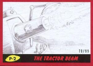 Pencil Art Base Card P-1 Mars Destroyed Mars Attacks The Revenge Red 99