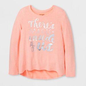 Cat-amp-Jack-Girls-039-Moxie-Peach-Shimmer-Magic-Cozy-Pullover-Shirt-Size-XS-4-5