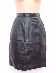 Women-039-s-Vintage-High-Waist-Knee-Length-Pencil-Black-100-Leather-Skirt-UK4-W23-034