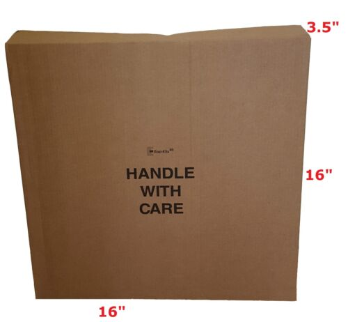 """CARDBOARD BOXES FLAT LONG BROWN STRONG 16 x 3.5 x 16/"""" Handle With Care FRAGILE"""