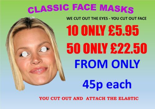 """30 20 40 50 Hen-Stag-Parties Classic Face Masks 9/""""-11/""""KITS from 45p each 10"""