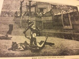 Antique-Book-Print-Roman-Gladiators-The-Appeal-for-Mercy-1900