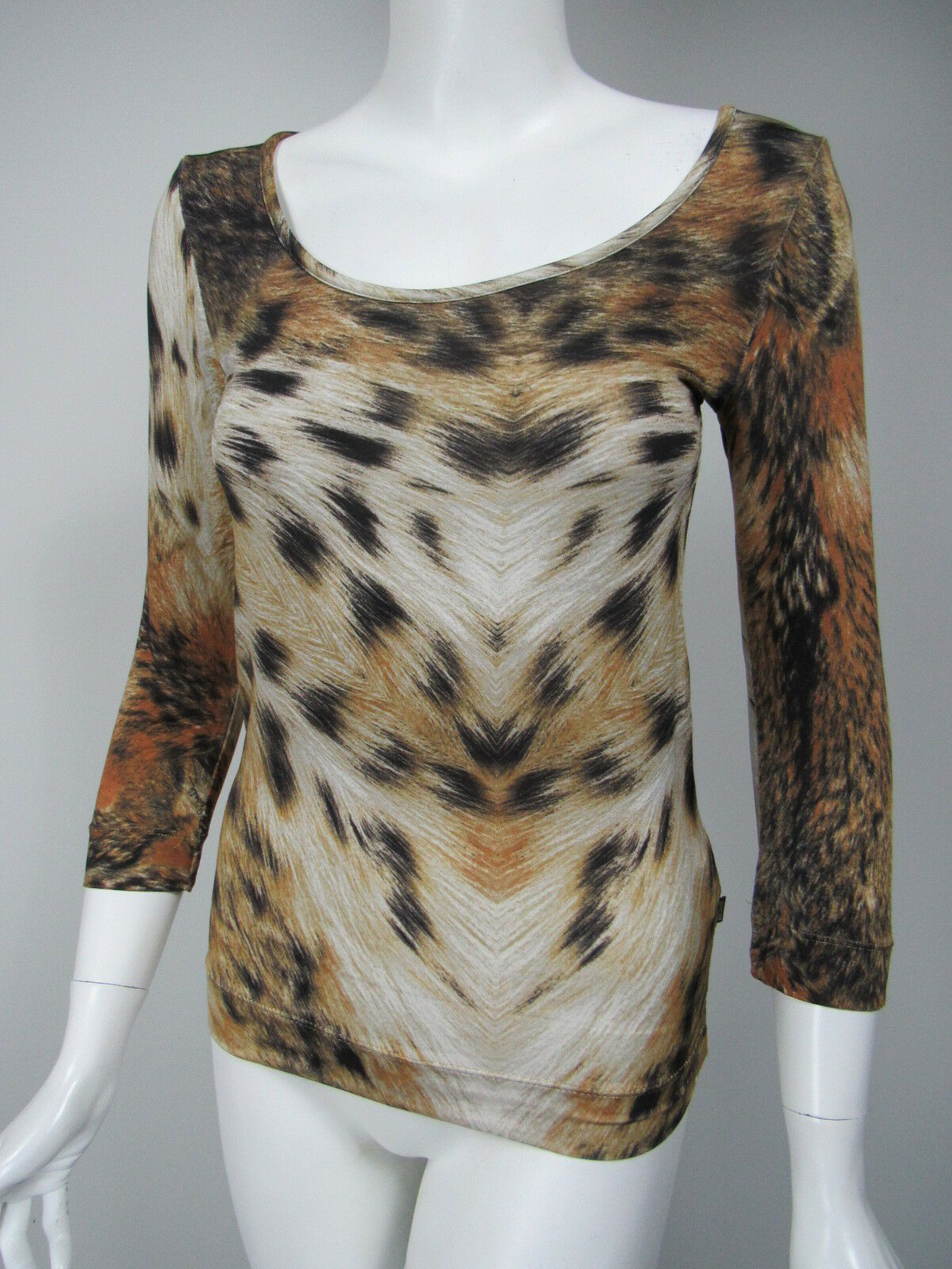 JUST CAVALLI Weiß braun schwarz Animal Print Knit Jersey Scoop Neck Top sz S