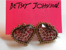 Betsey Johnson Small Pinkish Leopard Print Heart Stud Earrings W Bows Last Pair