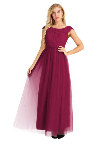 Femme Dentelle Longue mousseline robe de demoiselle d/'honneur mariage soirée bal Prom Robe