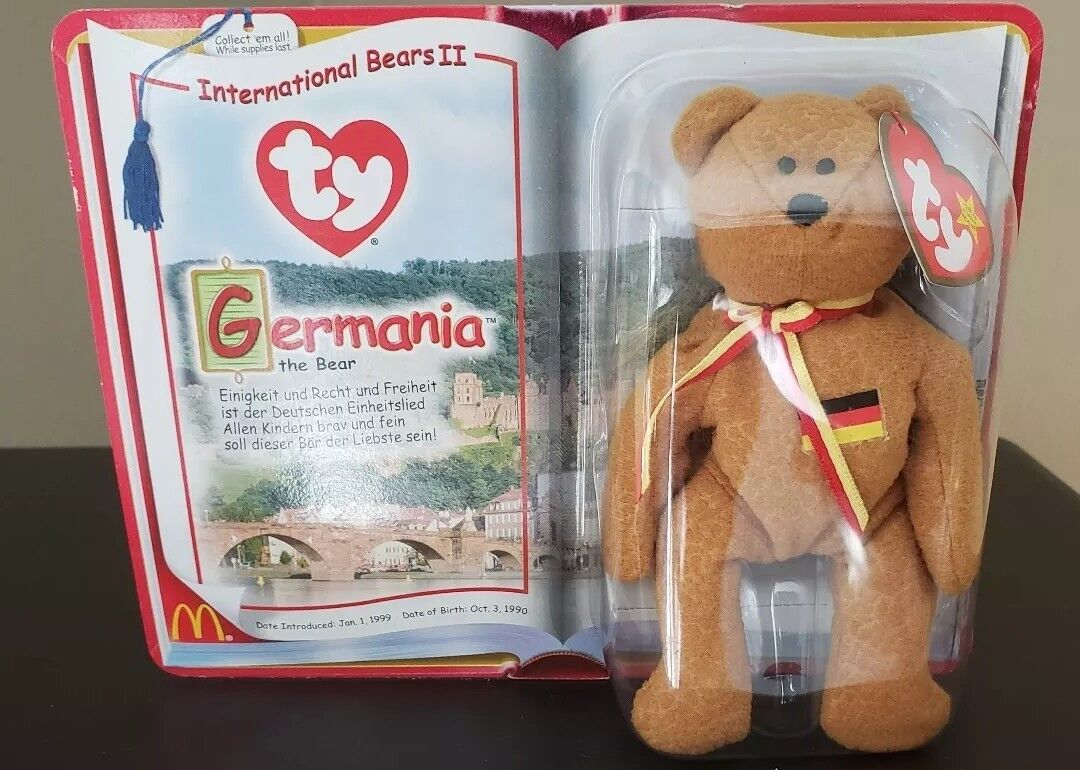 NIB NIB NIB RARE TY Teenie Beanie Babies Germania The Bear 2000 McDonald's with ERROR ff45bb