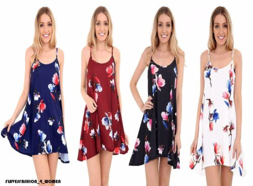 Ladies Floral Printed Cami Floaty Summer Flared Strappy Skater Dress Top UK 8-26