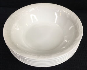 Corelle-Bella-Faenza-White-Embossed-Set-of-6-Soup-Cereal-Bowls-7-25-Made-in-USA