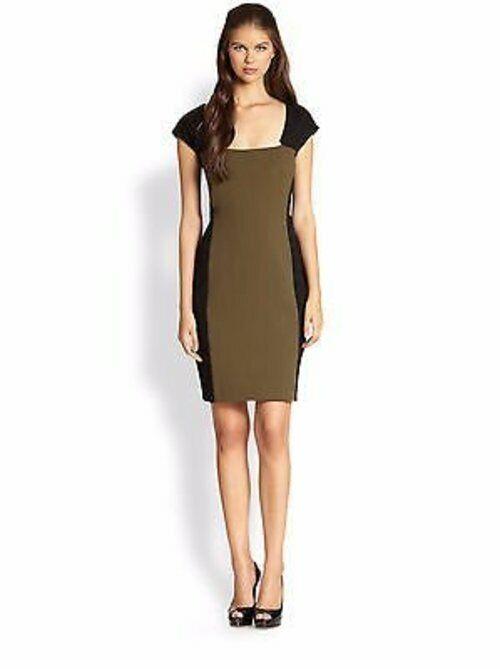 Rachel Roy Grün schwarz Ponte Knit Geo Farbe Block Sheath Dress 12 NWT R283