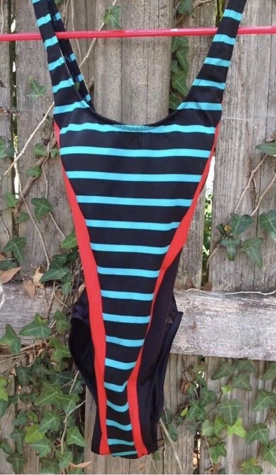 Vintage Cataluba Striped Criss Cross Swimsuit
