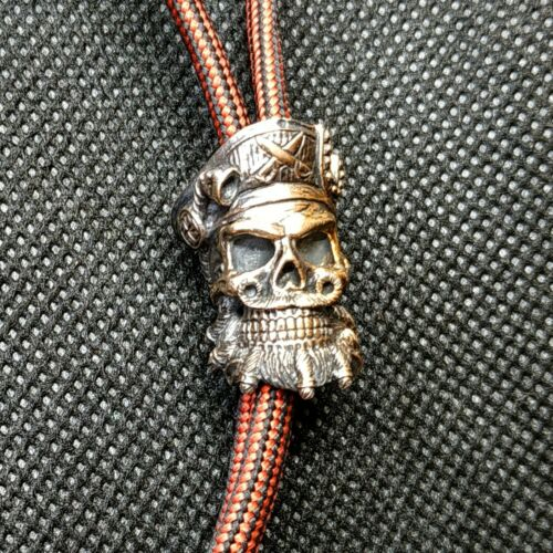 """Collectible Solid Bead /""""BARBE NOIRE/"""" couteau Paracord Lanyard handmade"""