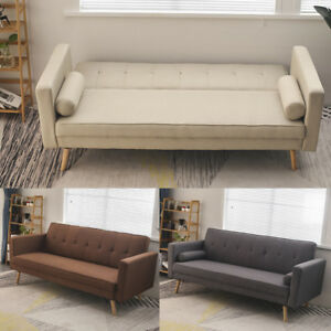 Details about Fabric Sleeper Sofa Bed 2/3 Seater Couch Padded Sofabed  Scandinavian Scandi Legs