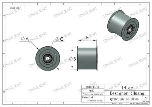 Smooth Idler Pulley With bore 8mm Bearing For width 27mm HTD5M HTD8M Timing belt
