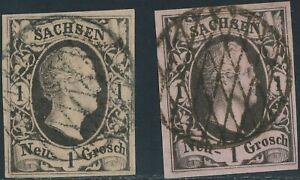 SACHSEN-1851-1-Ngr-Type-I-und-II-2-vollrandige-gest-Kab-Stuecke-ABART