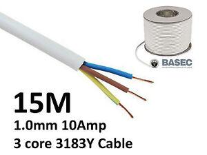 15M White PVC Flexible Cable Flex 3 core 1.0mm 10 Amp 3183Y
