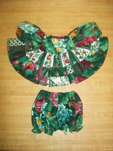 """3 tiered BLACK /& WHITE DRESS+MATCHING BLOOMERS for 16-18/"""" CPK Cabbage Patch Kids"""