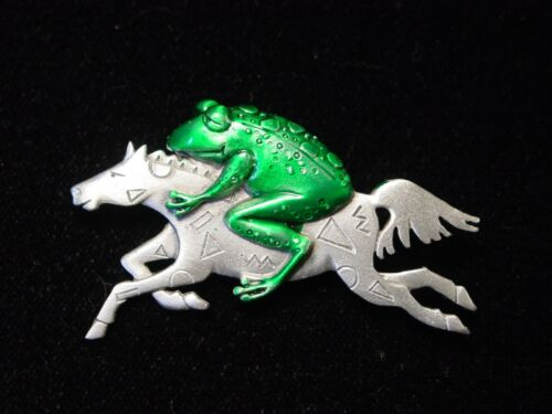 "/""JJ/"" Jonette Jewelry Silver Pewter /'FROG /& Horse in the WIND/' Pin"