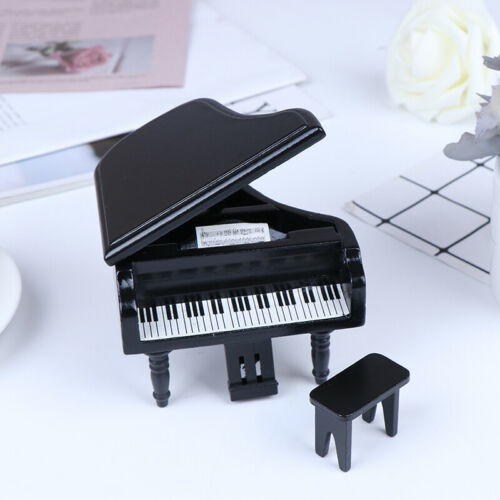 1:12 Dollhouse Miniature Black Wooden Grand Piano with Stool Model Play  DFI