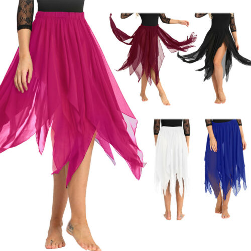 Woman chiffonTraining Belly Dance Short Dress Skirt Ballet Chiffon Dancewear