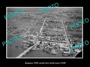 OLD-LARGE-HISTORIC-PHOTO-OF-KEMPSEY-NSW-AERIAL-VIEW-OF-THE-TOWN-c1940