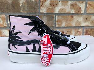 6fad30253fe Women s Vans Sk8 Hi Skateboarding Shoes Pink Black Palm Floral Size ...