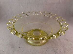 Yellow-Glass-Scalloped-Footed-Bowl-3-1-2-034-Tall-8-1-2-034-Diameter