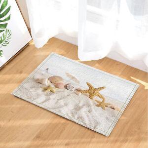 Beach Starfish Seass Non Slip Rugs, Beach Bathroom Rugs