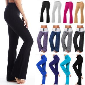 Women Bootcut Yoga Pants Bootleg Flare Trousers Workout Casual Fitness Running B Ebay
