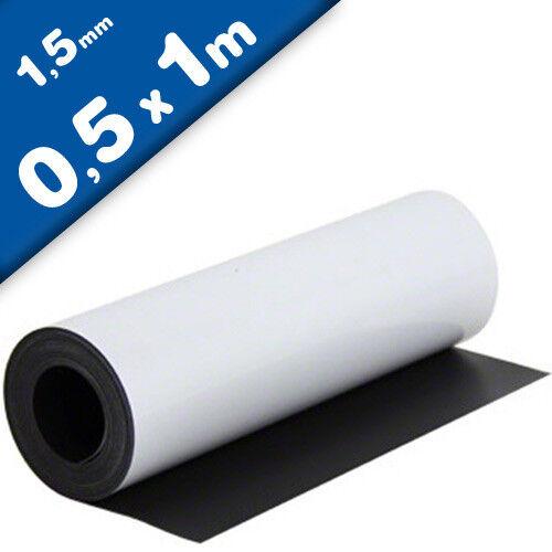 magnetische Folie Magnetfolie weiß matt beschichtet 1,5mm x  50cm x 100cm