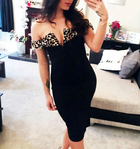 Leopard Print Black Fitted Dress Bodycon Off The Shoulder Evening ... 291c52e65