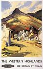 "Vintage Illustrated Travel Poster CANVAS PRINT Western Highlands Britian 8""X 10"""