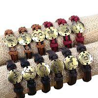 Wholesale 12pcs Bronze tone twelve constellations Hemp Genuine Leather Bracelets