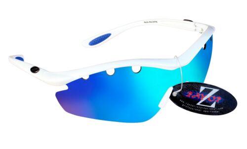 Rayzor Bianco Sports Avvolgere Sole Uv400 Ventilato Blu Lenti a Specchio 612