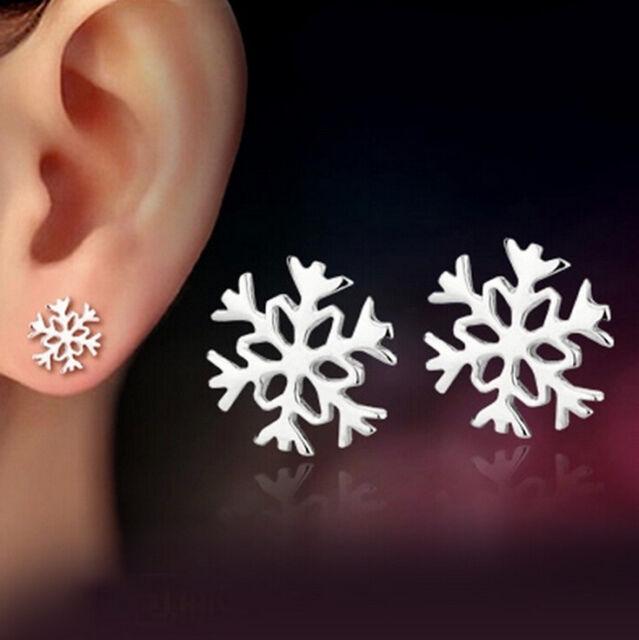 Cute Snowflake Ear Studs Women's Tiny Sweet 925 Sterling Silver Plated Earrings