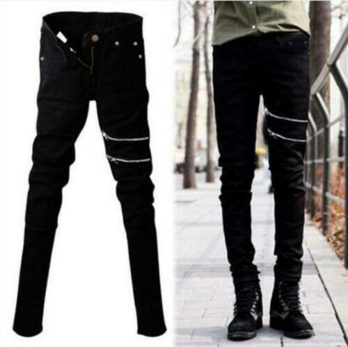 Stylish Mens Zipper Decor Hip Hop Skinny Slim Fit Pants Casual Pencil Trousers