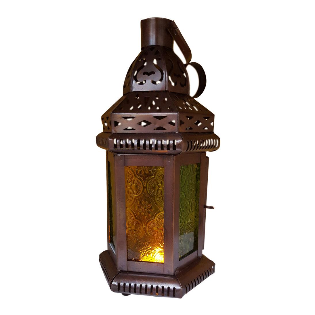 Set of  5 - Grün & Gelb Glass MGoldccan Lantern, Candle Holder