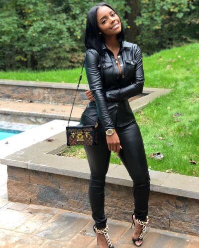 Fashion Women Long Sleeve Button Solid Color Bodycon Jumpsuit Casual Club 2pcs