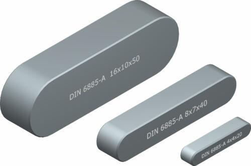 DIN 6885-A Passfeder 5 x 5 bzw 6 x 6 mm Längen Stahl blank Normalien div